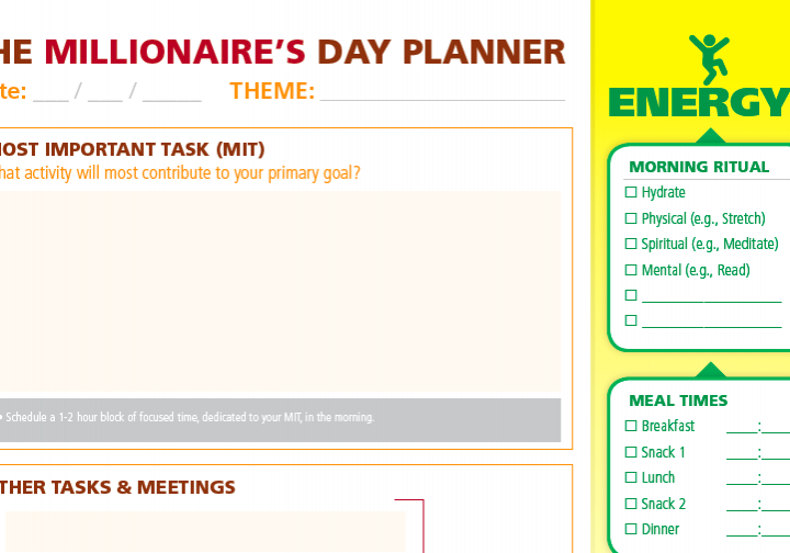The Millionaire's Day Planner (Free 1-Page Productivity Tool)